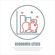 Icon on a theme of economic crisis Stock Illustration