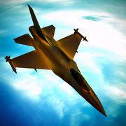 Fighter jet flying against a blue sky, 3d illustration Stock Illustration