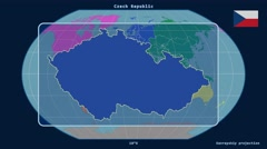 Czech Republic - 3D tube zoom (Kavrayskiy VII projection). Continents Stock Footage