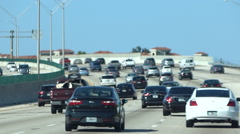 American highway full of cars. Filming with stabilized camera Stock Footage