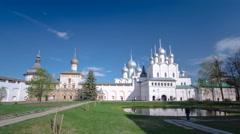 The Nativity Church in the Rostov Kremlin timelapse hyperlapse, Rostov the Great Stock Footage