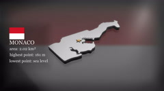 3D animated Map of Monaco Stock Footage