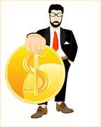 Dollar in hand - stock illustration