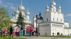 The Nativity Church in the Rostov Kremlin timelapse, Rostov the Great, Russia Stock Footage
