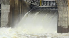Spring flood water flowing on hydroelectric power station Portugal Stock Footage