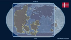 Denmark - 3D tube zoom (Kavrayskiy VII projection) Stock Footage