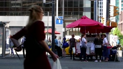 One side of hot dog booth at street of downtown Vancouver Stock Footage