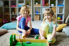 Playing in kindergarten - stock photo