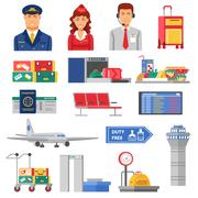 Airport Icon Set - stock illustration