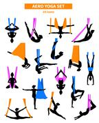 Aero Yoga Black White Icon Set Stock Illustration