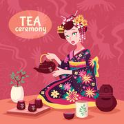 Tea Ceremony Poster - stock illustration
