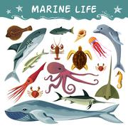 Marine Inhabitants Decorative Icons Set - stock illustration