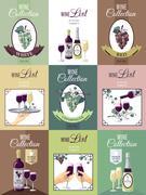 Set Of Wine Menu Poster Stock Illustration