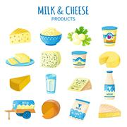 Milk And Cheese Icons Set Stock Illustration