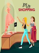 Shopping Girl In Store Interior - stock illustration