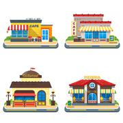 Cafe 2x2 Flat Icons Set Stock Illustration