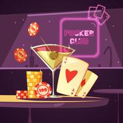 Casino Poker Club Retro Cartoon Illustration Stock Illustration