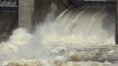 Spring flood water flowing on hydroelectric power station Portugal - stock footage
