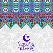 decorative design for holy month of muslim community festival Ra - stock illustration