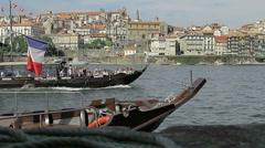 Oporto - Ribeira Douro river & boats. Stock Footage