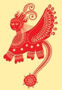 Ethnic fantastic animal doodle design in karakoko style, unusual Stock Illustration