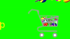 Shopping Cart for shopping with children's toys and toy store sign Stock Footage