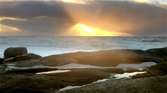 Beach of atlantic coast. Portugal. - stock footage