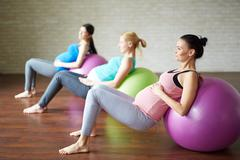 Exercise on fit-balls Stock Photos
