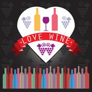 Wine tasting card, two yellow and red bottles in a heart frame Stock Illustration