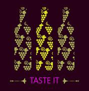 Red and white wine tasting card, grapes in shape of red and yellow bottle - stock illustration