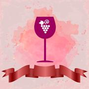 Red wine tasting card with a red glass and grape sign. - stock illustration