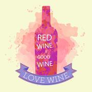 Red wine tasting and love card, bottle with inscription - stock illustration