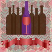 Wine tasting card, bottles and a red glass over a background with pattern. - stock illustration