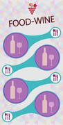 Food and wine info graphic, bottle and glass with spoon, fork and knife - stock illustration