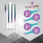 Food and wine info graphic, bottle with components description Stock Illustration