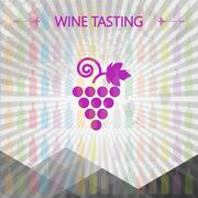 Wine tasting card, big grape sign over colored bottles background with lines. - stock illustration