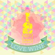 Red wine love and tasting card, yellow bottle over water color background Stock Illustration