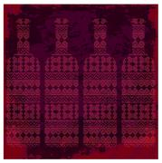 Wine tasting card, four bottles of red wine with pattern over dark background - stock illustration