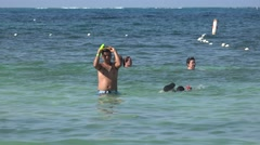 People Swimming In Ocean Stock Footage