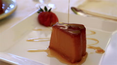 Portuguese dessert - pudding. Stock Footage