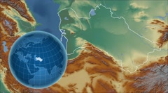 Turkmenistan and Globe. Relief - stock footage