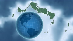 Turks and Caicos Islands and Globe. Relief Stock Footage