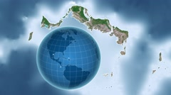 Turks and Caicos Islands and Globe. Satellite Stock Footage
