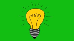 Light bulb sketch with concept of idea. Doodle hand drawn bulb. - stock footage
