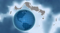 Turks and Caicos Islands and Globe. Set of five animations plus matte Stock Footage