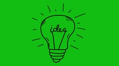 Light bulb sketch with concept of idea. Doodle hand drawn bulb. Stock Footage