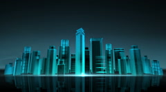 Construction building city skyline and make city in animation. nighttime 2. Stock Footage