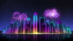 Construction building city skyline make city. nighttime 3. fireworks festival. Stock Footage