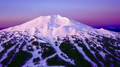 Beautiful mountain (volcano) fly-by of Mt. Bachelor in Oregon. Stock Footage