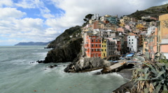 Riomaggiore in the Cinque Terre region of Liguria, Italy. Stock Footage